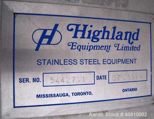"Used- Highland Equipment Limited Tank, 11,887 Gallon, 304 Stainless Steel, Vertical.  132"" diameter x 180"" straight side, co..."