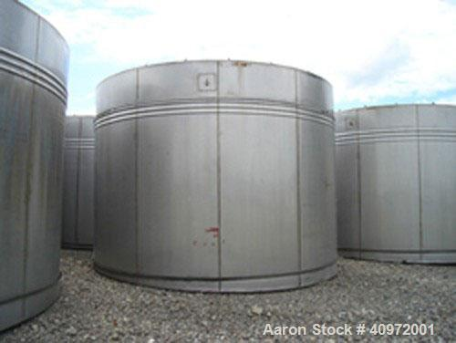 "Used- Ellet Tank, approximately 13,000 gallon, 304 stainless steel, vertical. 14'6"" diameter x 10'6"" straight side. Flat top..."