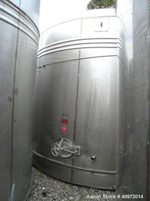"Used-Approximately 13,000 US Gallon, Type 304 Stainless Steel, Storage Tank Manufactured by Ellet. Vertical design, 14'6"" di..."
