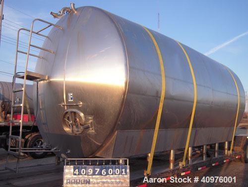 "Used- Feldmeier Cold Wall Storage Tank, Model GHW, 12,000 Gallon, 316L Stainless Steel, Horizontal. 120"" diameter x 240"" str..."