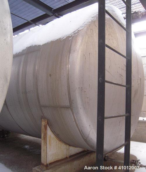 "Used-  Clawson Tank, 13,514 Gallon, 304L Stainless Steel, Horizontal.  Approximate 125.5"" diameter x 222"" straight side, dis..."