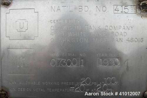 "Used- Clawson Tank Company Pressure Tank, 12,000 gallon, 304L stainless steel, horizontal.  125-1/2"" diameter x 222"" straigh..."