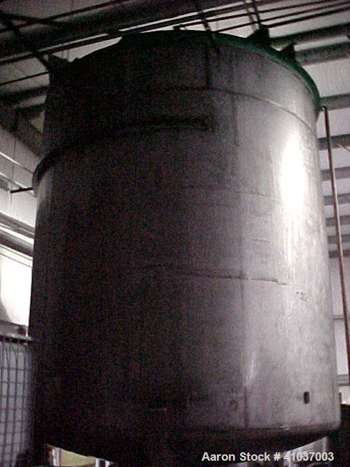 "Used- Tank, 9,500 Gallon, 316 Stainless Steel, Vertical. 11' dia x 12' 4"" Straight Side. Includes aPhiladelphia Mixer;Model ..."