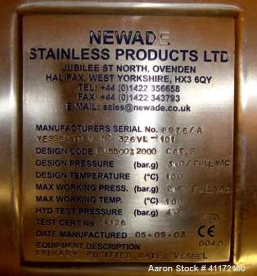 Used- Newade Stainless Products Pressure Tank, Approximately 5285 Gallon (20,000 liter), Stainless Steel, Vertical. Approxim...