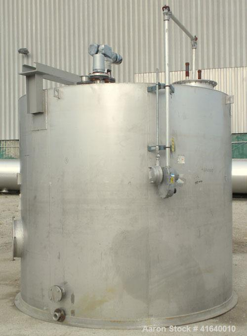 "Used- Bendel Tank, 5,000 Gallon, 304 Stainless Steel, Vertical. 118"" diameter x 108"" straight side, coned top, sloped bottom..."