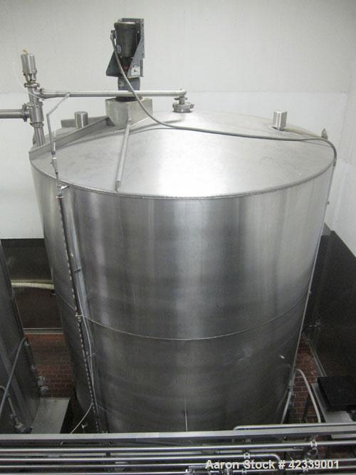 "Used-Tank, JV Northwest, 6,400 Gallon, stainless steel, 9' 3"" diameter x 12' high.  Vertical, slight cone top and bottom.  T..."