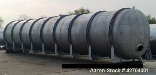 Used-27,374 Gallon (103,590 Liter) Tank. Stainless steel, wall thickness bottom 3 mm, hull 2, working pressure 14.5 psi (1 b...