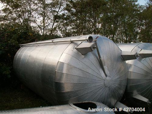 Used-7927 Gallon (30,000 Liter) Vertical Stainless Steel Tank, 316 Ti (1.4571), isolated.  Diameter 8.2' (2,500 mm), cylinde...