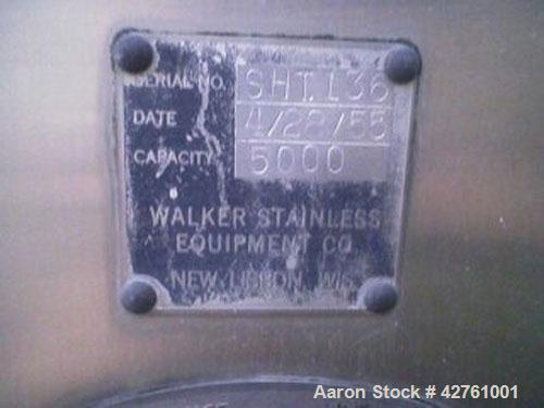 "Used-5000 Gallon Tank Manufactured by Walker Stainless. Stainless steel interior, heated 1-1/2"" steam coil, insulated, sight..."