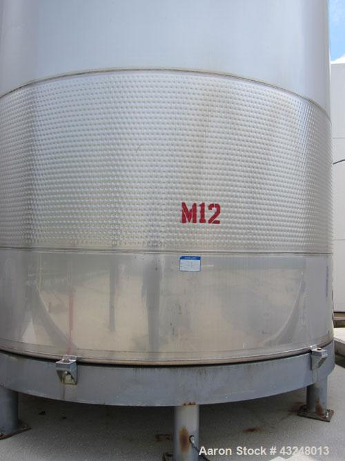 "Used- Mueller Tank, 11,933 Gallon, Model DF, Stainless Steel, Vertical. Approximate 140"" diameter x 173"" straight side. Off ..."