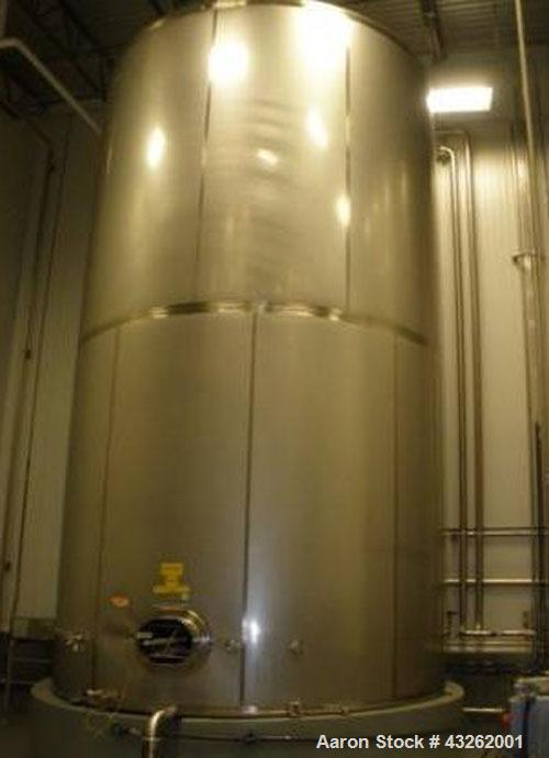 """Used-Mueller Sugar Tank / Silo  Model """"D"""" - 27,000 Gallon Capacity, All  304 Stainless Steel.Non Jacketed Tank. 168"""" Diamete..."""