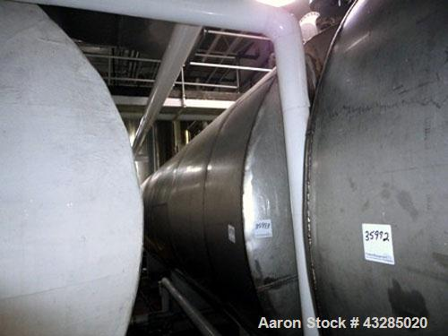 "Used- Tank, 8500 Gallon, Stainless Steel, Horizontal.  Approximately 96"" diameter x 264"" straight side.  Slight coned ends. ..."