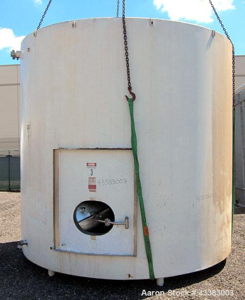 "Used- Damrow Tank, 5000 Gallon, 304 Stainless Steel, Vertical. 120"" Diameter x 110"" straight side, slight coned top, sloped ..."