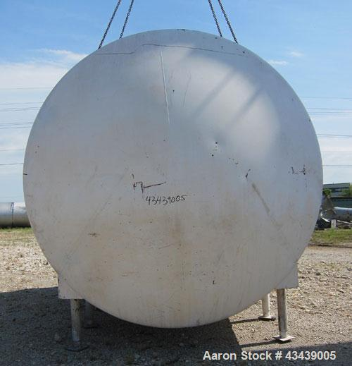 "Used- DCI Storage Tank, 7,500 Gallon, 304 Stainless Steel, Horizontal. 120"" Diameter x 154"" straight side, dished ends. Inte..."