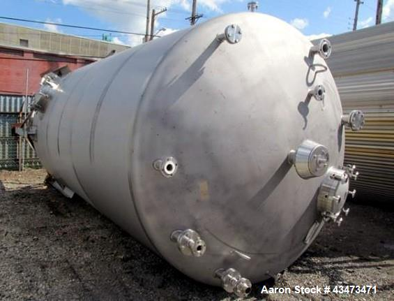 "Used- Feldmeier Pressure Tank, 8000 Gallon, 304 Stainless Steel, Vertical. 108"" Diameter x 192"" straight side, dished top & ..."