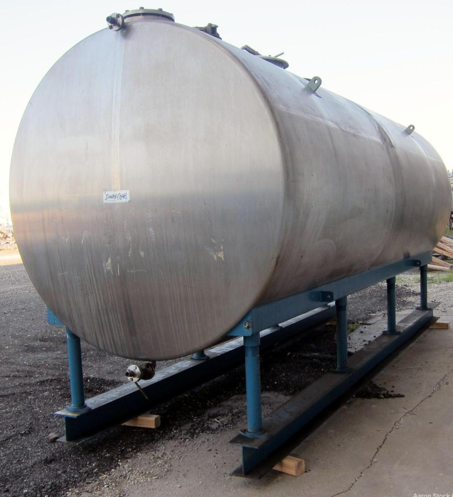 "Used- Dairy Craft Tank, 5000 Gallon, 316 Stainless Steel, Horizontal. Approximately 84"" diameter x 209"" straight side, dishe..."