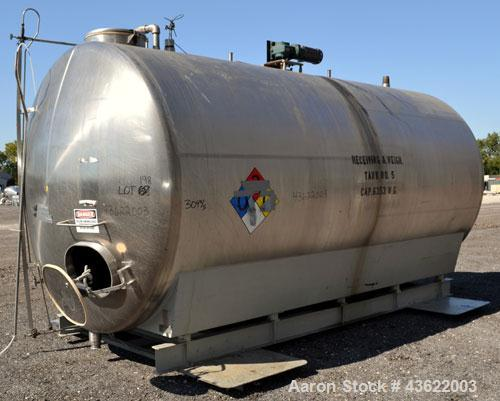"Used- Cherry-Burrell Type C Tank, 6,000 Gallon, Model CH, 304 Stainless Steel, Horizontal. 96"" Diameter x 184"" straight side..."