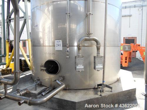 Used- Santa Rosa Approximately 27,000 Gallon Vertical Stainless Steel Storage Tank. Approximately 12' diameter x 32' straigh...
