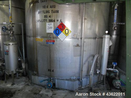 Used- Krenz Approximately 8,500 Gallon Stainless Steel Storage Tank. Approximately 11' diameter x 12' straight side. Flat bo...