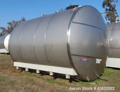 "Used- Santa Rosa 10,000 Gallon Stainless Steel Horizontal Storage Tank. Approximately 10'6"" diameter x 14'6"" straight side. ..."