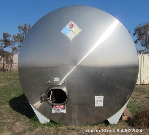 "Used- Mueller 16,000 Gallon Stainless Steel Horizontal Storage Tank. Approximately 10'6"" diameter x 24'6"" straight side. Dis..."
