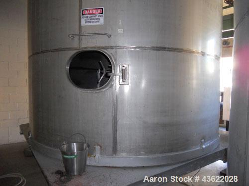 Used- Krenz Approximately 7,800 Gallon Stainless Steel Storage Tank. Approximately 11' diameter x 11' straight side. Flat bo...