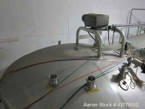 "Used- 6000 gallon SS Single Shell Dome Top & Bottom Vertical Tank; 112"" x 132""; with vertical agitatior, baffle and spray ba..."