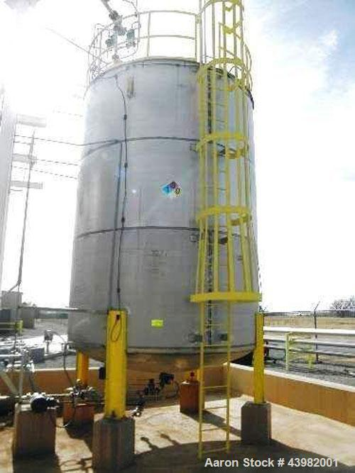 "Used- Approx. 15,000 Gallon Stainless Steel Storage Tank. Approx. 11' 6"" Diameter x 18' Straight Side. Dish Bottom and Sligh..."