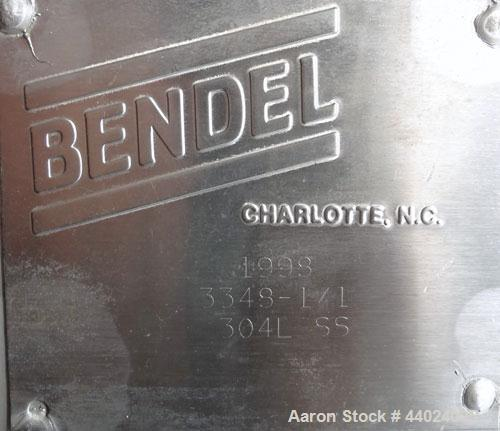 "Used- Bendel Tank, 10,000 Gallon, 304L Stainless Steel, Vertical.  Approximately 136"" diameter x 165"" straight side, slight ..."