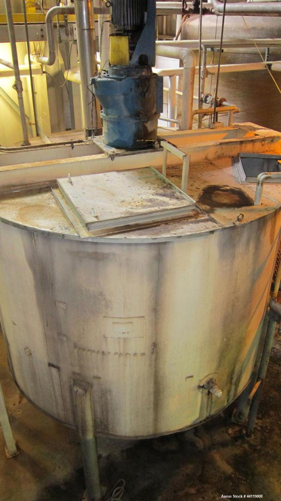 Used-5600 Gallon 316L Stainless Steel Tank, 11' Diameter, 8' Straight Side, 4 Legs, I-Beam Mounted Chemineer Agitator Model ...