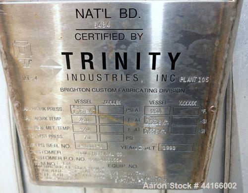 "Used- Trinity Industries Inc Pressure Tank, 25,000 Gallons, 304L Stainless Steel, Horizontal. 138"" Diameter x 360"" straight ..."
