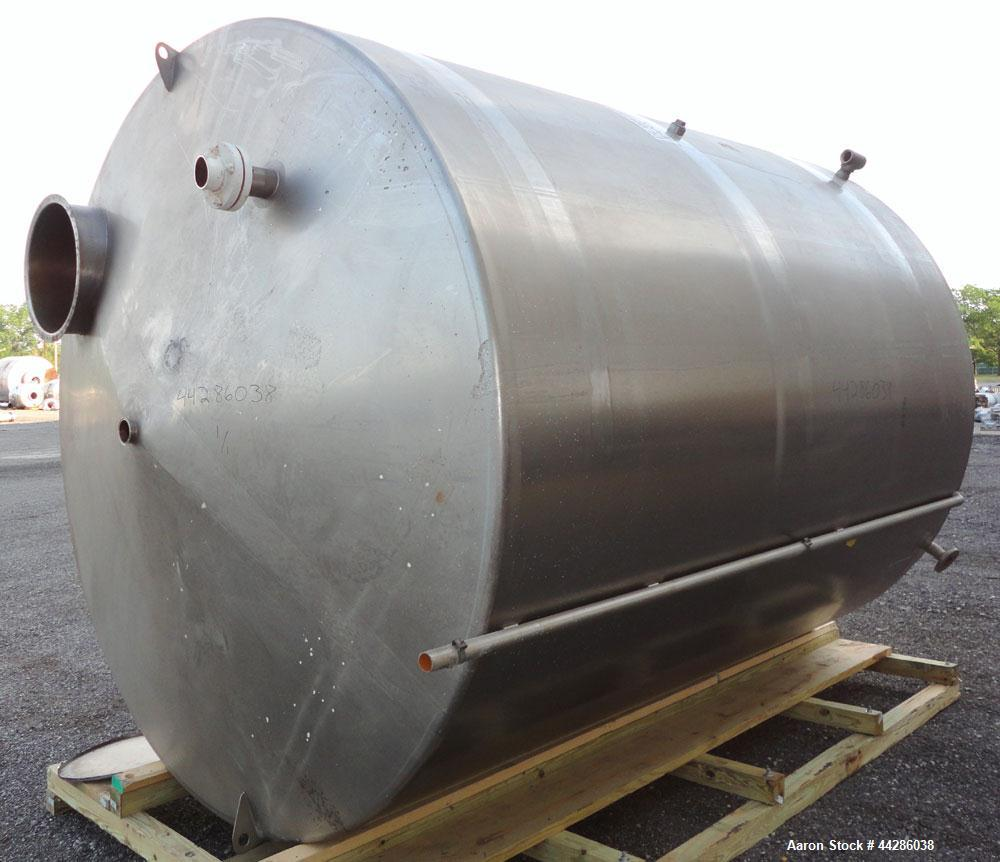 "Used- Perma-San Tank, 5000 Gallon, 316 Stainless Steel, Vertical. 108"" Diameter x 130"" straight side, cone top, flat bottom...."