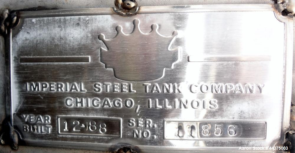 "Used- Imperial Steel Tank, 10,000 Gallon, 304 Stainless Steel, Vertical. 120"" Diameter x 192"" straight side, dished top and ..."