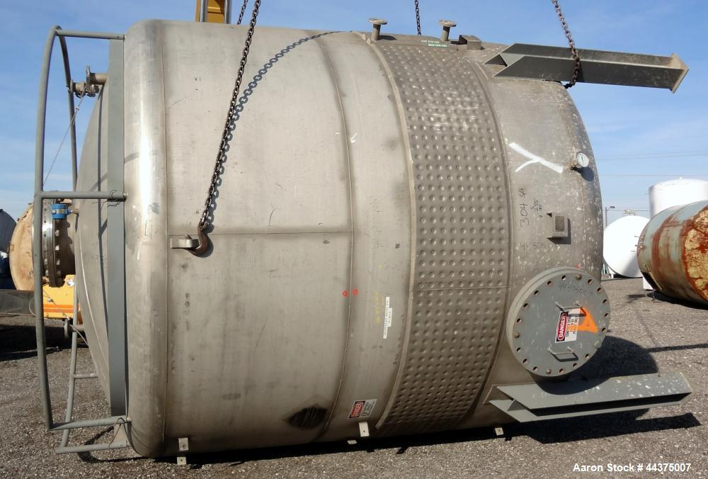 "Used- Wolfe Mechanical And Equipment Tank, 9000 Gallon, 304 Stainless Steel, Vertical. 144"" diameter x 120"" straight side, d..."