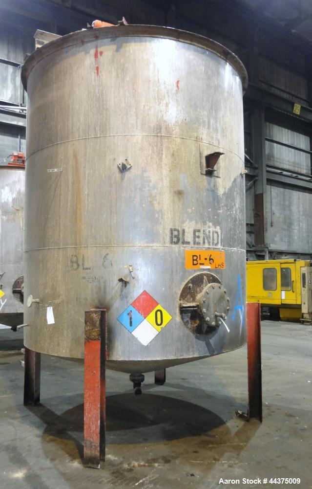 "Used- Tank, 5000 Gallon, 316 Stainless Steel, Vertical. Approximate 108"" diameter x 126"" straight side, flat top, coned bott..."