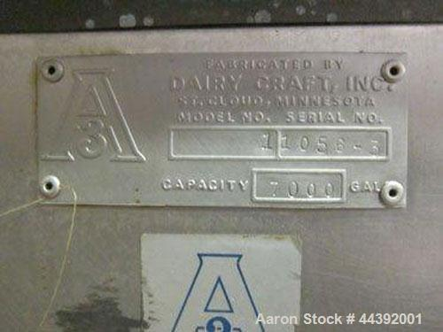 Used-Dairy Craft 7000 gallon silo tank, s/n 11056-3, small ripple in top corner of interior