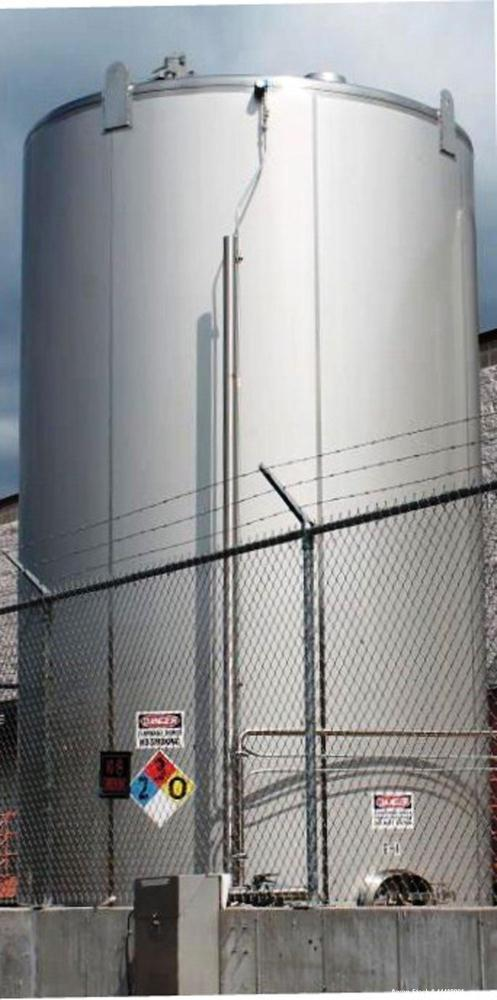 "Used-""16,000-GALLON MODEL """"D"""" BEVERAGE GRADE, SINGLE WALL, VERTICAL, CYLINDRICAL, WELDED, STAINLESS STEEL, ABOVE GROUND BU..."