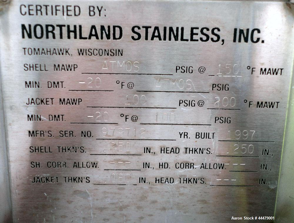 Used- 10,000 Gallon Stainless Steel Northland Stainless Tank