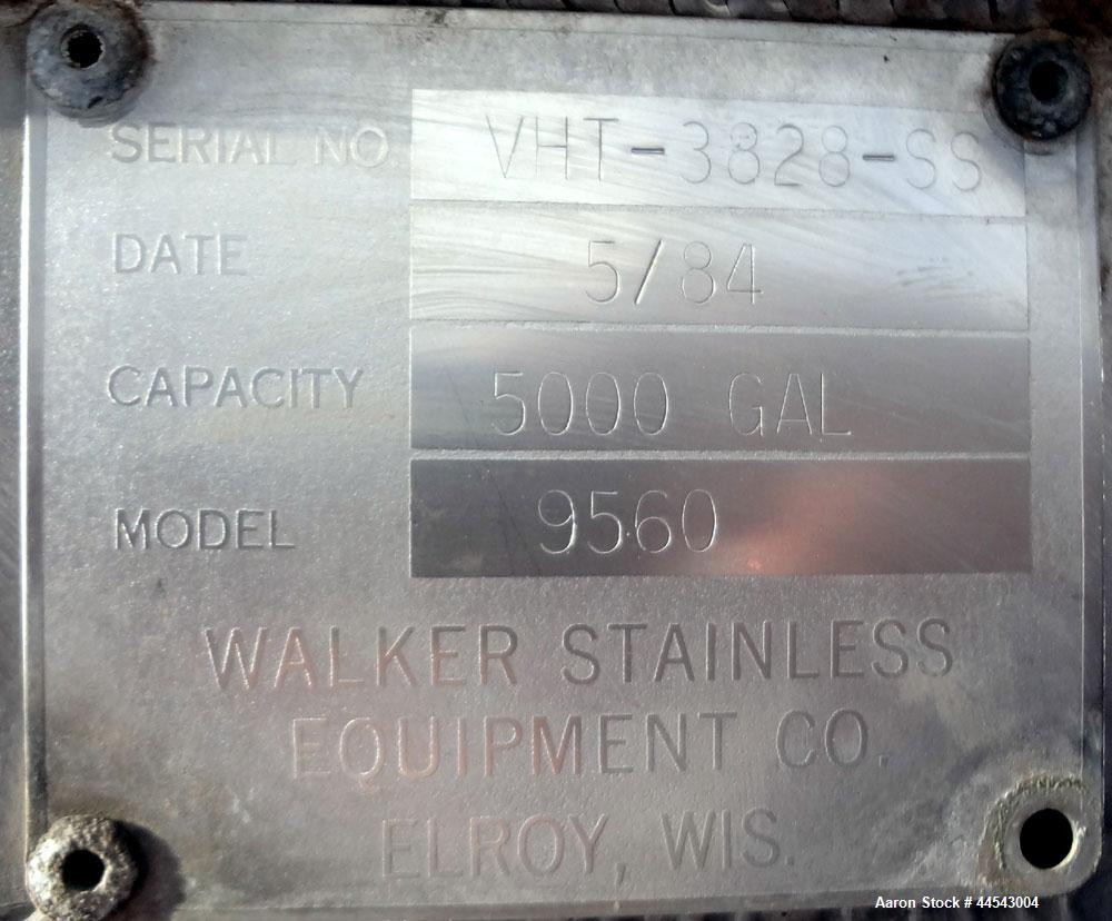 "Used- Walker Stainless Tank, 5000 Gallon, Model 9560, 304 Stainless Steel, Vertical. Approximate 120"" diameter x 104"" straig..."