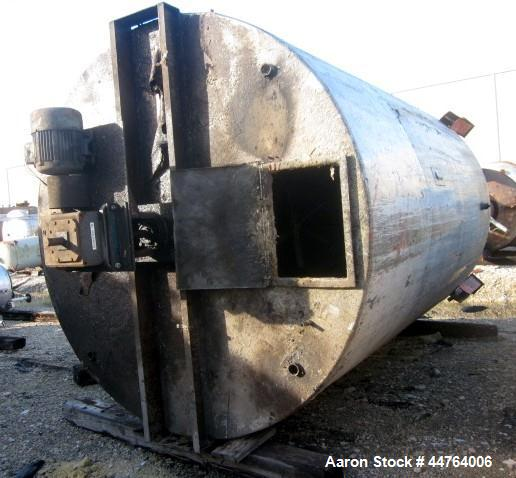 "Used- Tank, 6200 Gallon, 304 Stainless Steel, Vertical. 108"" Diameter x 156"" straight side, flat top, coned bottom. Top ente..."
