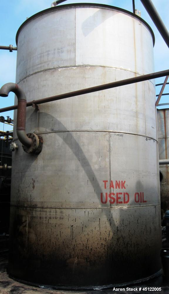 Used-Approximately 10,000 Gallon Used Oil Storage Tank, flat top, flat bottom, side entering manway