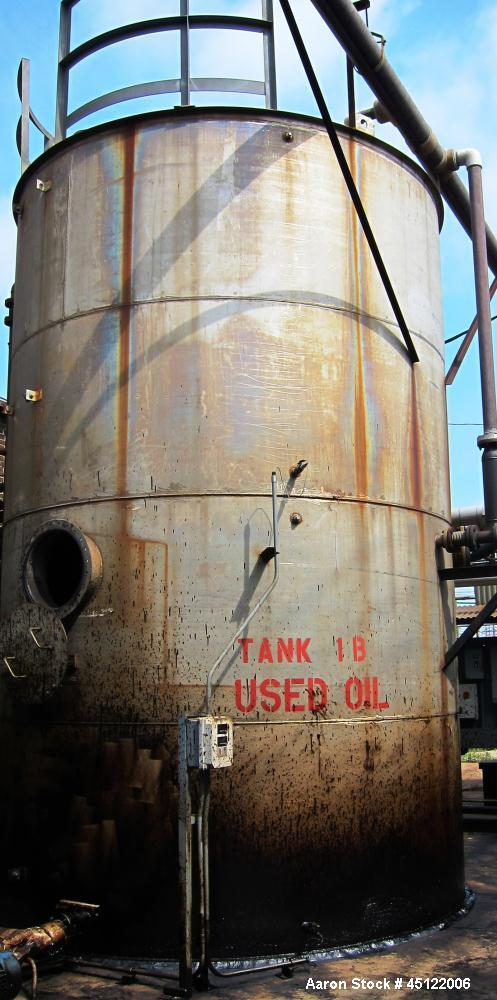 Used-Approximately 10,000 Gallon Used Oil Storage Tank, flat top, flat bottom, side entering manway.