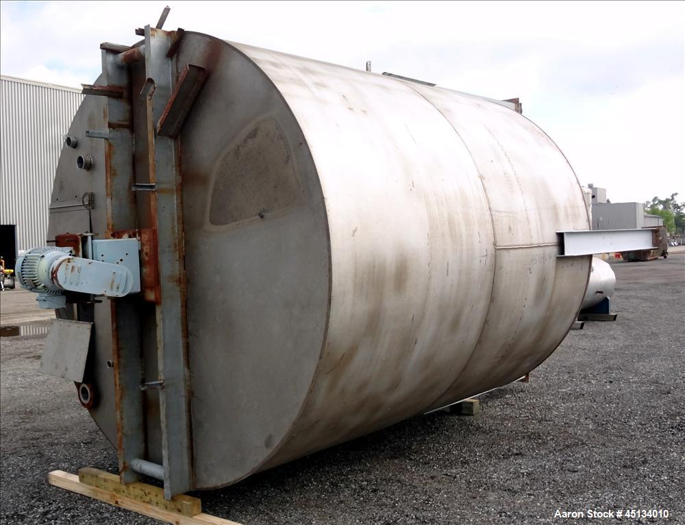 "Used- BMT Brown Minneapolis Tank, 7,500 Gallons, 304 Stainless Steel, Approximate 142"" Straight Side x 120"" Diameter, Flat T..."