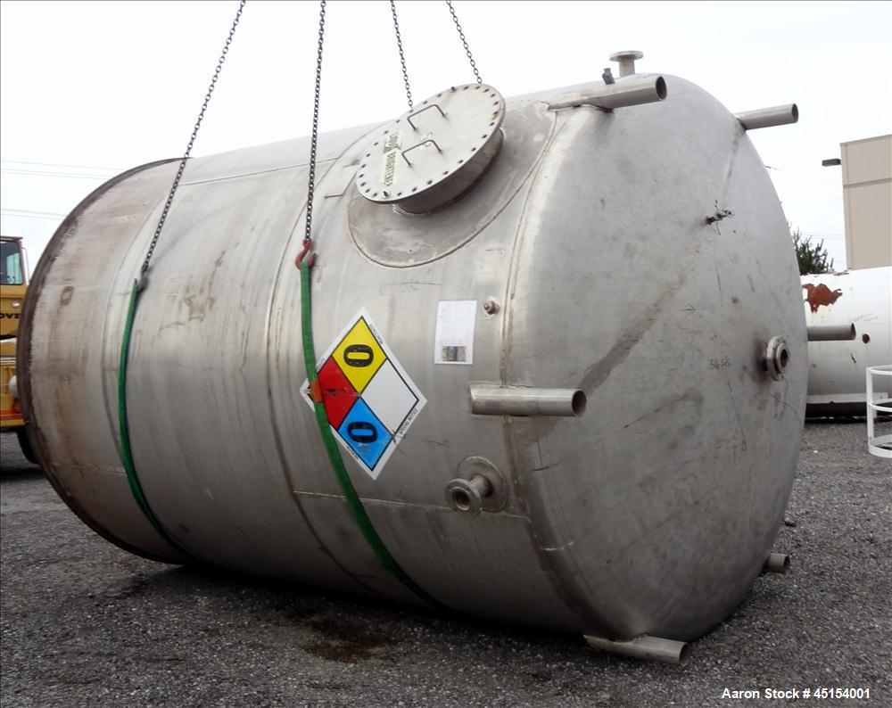 "Used- G.A. Wright & Sons Tank, 8116 U.S Gallons (6759 Imperial Gallons), 316L Stainless Steel, Vertical. 120 diameter x 160""..."