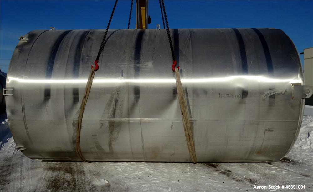 Used-10,500 Gallon Stainless Steel DCI Dimple Jacketed Tank