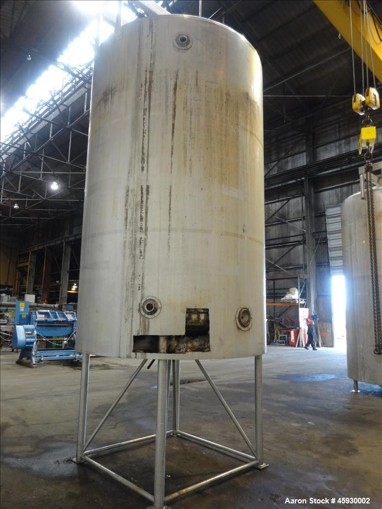 "Used- DCI 3,000 Gallon, Dimple Jacketed Tank, 304 Stainless steel, Vertical. Approximate 80"" diameter x 139"" straight side. ..."