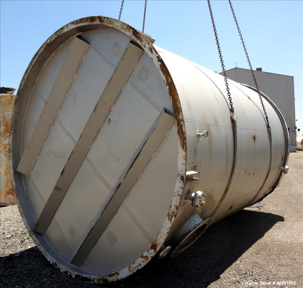 "Used- Bendel Corp. Tank, 11,000 Gallon, 304 Stainless Steel, Vertical. Approximately 132"" diameter x 186"" straight side. Fla..."