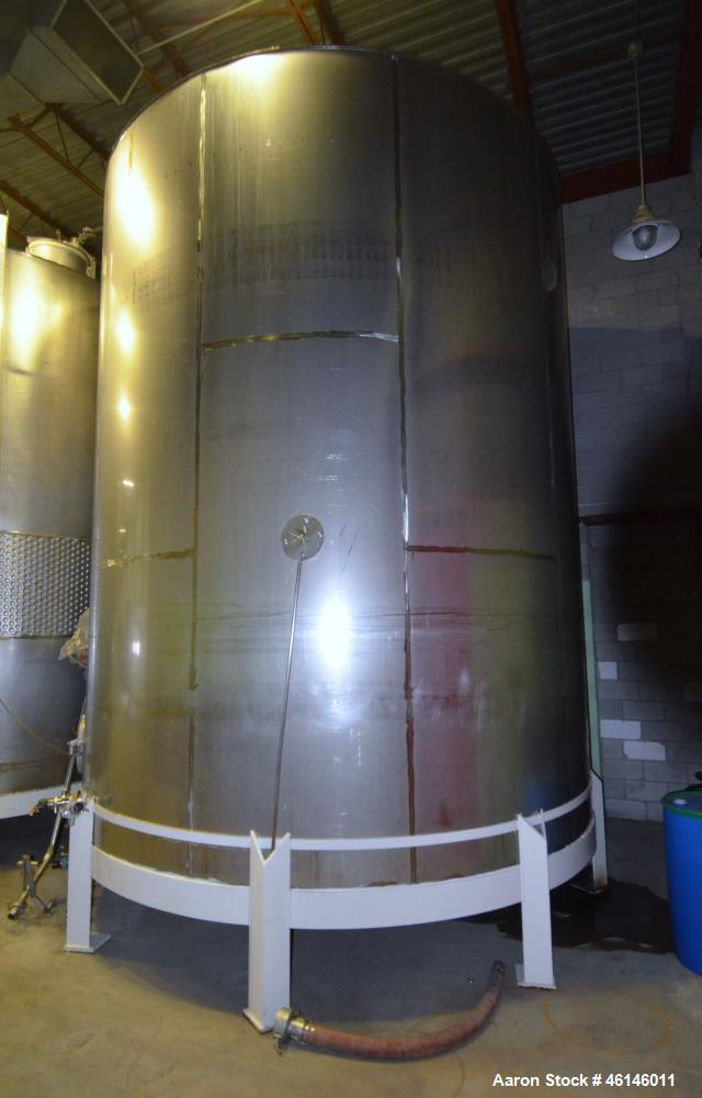 Used- Douglas Brothers Tank, Approximate 16,000 Gallon, Stainless Steel, Vertica