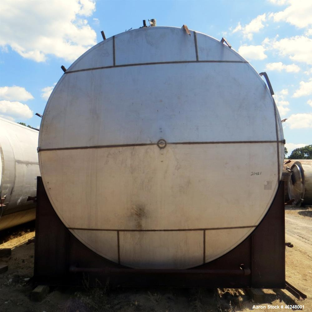 "Used- American Stainless Steel Products Tank, 37,000 Gallon, Stainless Steel, Horizontal. Approximately 144"" diameter x 576""..."