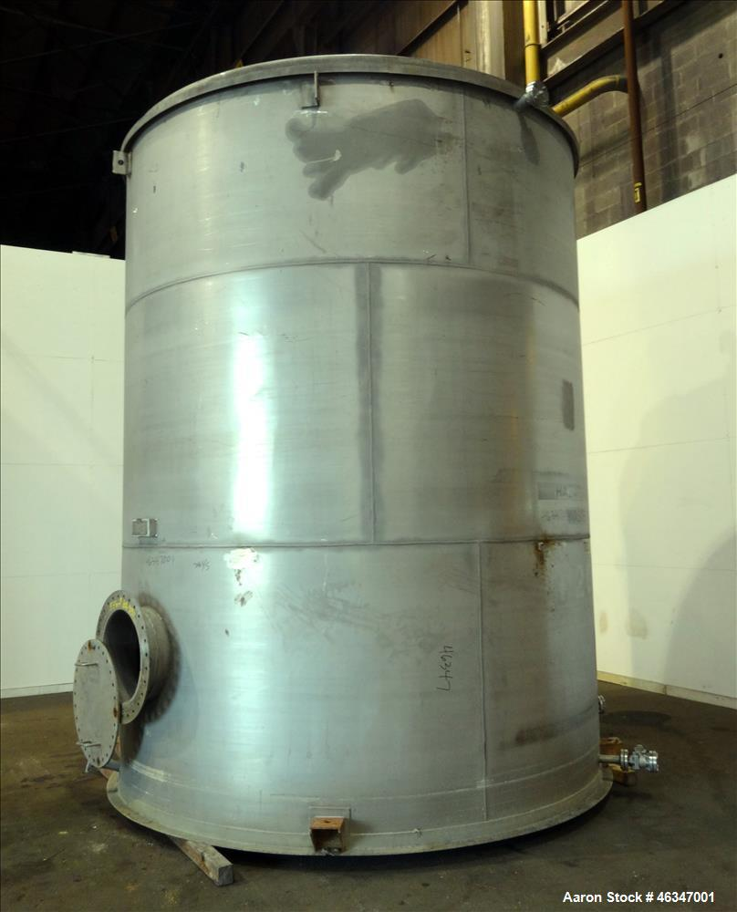 "Used- Evans & Sons Tank, 9000 Gallon, 316 Stainless Steel, Vertical. Approximate 126"" diameter x 168"" straight side, flat to..."